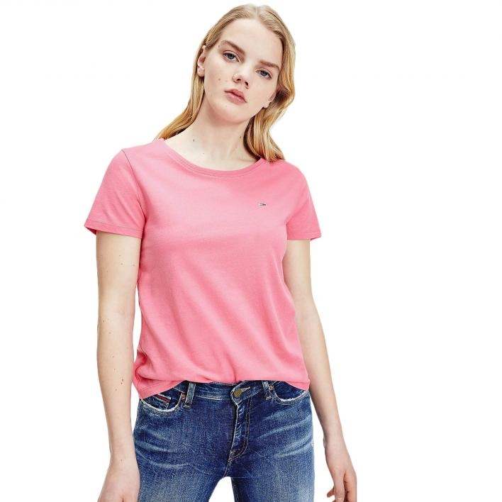 TOMMY JEANS TJW SOFT JERSEY TEE GLAMOUR PINK