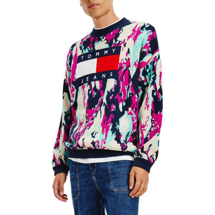 TOMMY JEANS TOMMY FLAG CAMO SWEATER