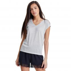 ONLY SILVERY S/S V NECK LUREX TOP JRS NOOS
