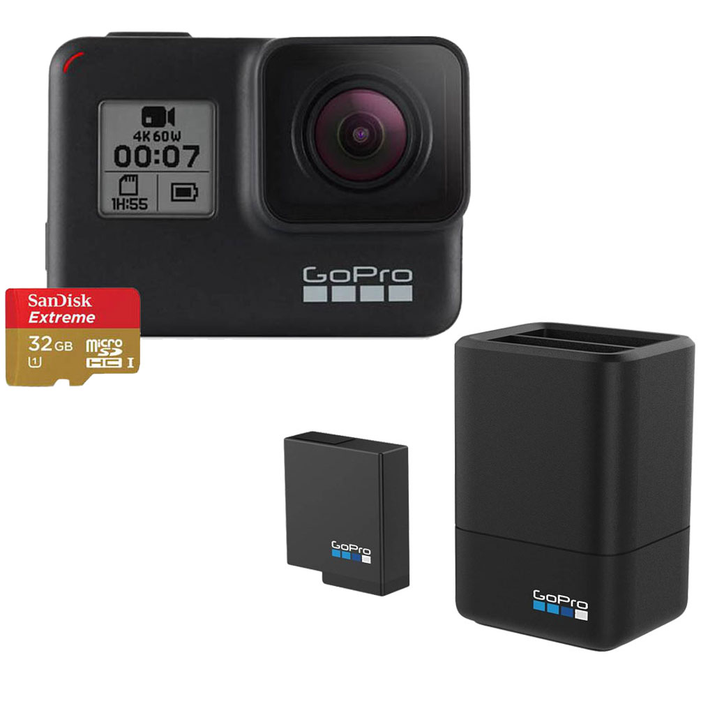 GoPro Hero7 + SD 32 GB + GOPRO DUAL BATTERY CHARGER + BATTERY